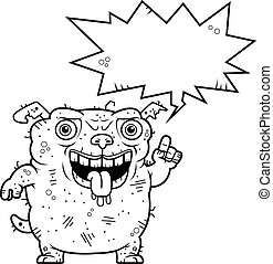 Ugly Dog Talking - A cartoon illustration of an ugly dog...