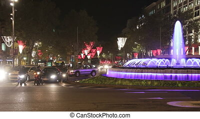 Barcelona Christmas Street Lights - Time lapse vehicles on...