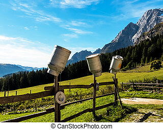 milk cans on a mountain pasture - on a beautiful pasture...