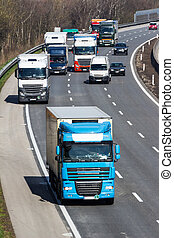 truck on highway - trucks on the highway. road transport of...