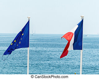 the eu and french flags - flags of eu and france, symbol...