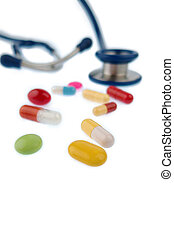 tablets and a stethoscope - colorful tablets and a...