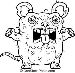 Angry Ugly Rat - A cartoon illustration of an ugly rat...
