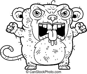 Angry Ugly Monkey - A cartoon illustration of an ugly monkey...