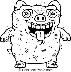 Ugly Pig Standing - A cartoon illustration of an ugly pig...