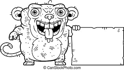 Ugly Monkey Sign - A cartoon illustration of an ugly monkey...