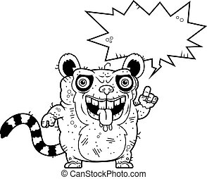 Ugly Lemur Talking - A cartoon illustration of an ugly lemur...