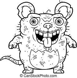 Ugly Rat Standing - A cartoon illustration of an ugly rat...