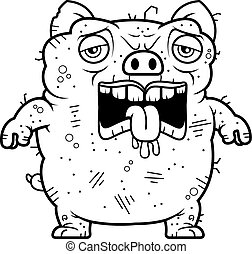 Tired Ugly Pig - A cartoon illustration of an ugly pig...