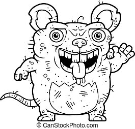 Ugly Rat Waving - A cartoon illustration of an ugly rat...