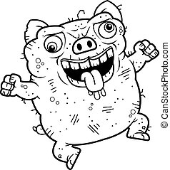 Crazy Ugly Pig - A cartoon illustration of an ugly pig...