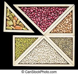 feijão, e, lentilha, tangram, abstratos,
