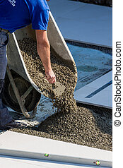 working on a construction site with concrete - at a...