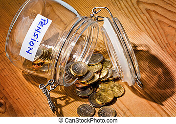 glass with coins inscription retirement pension - gold coins...