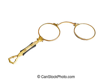 lorgnette - old gilded lorgnette to improve vision, the...