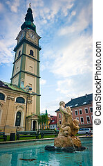 St Egid church and fountain in Klagenfurt, Austria