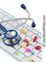 tablets on keyboard symbol photo for online pharmacies and...