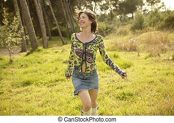rennender, Draußen, grün, frau