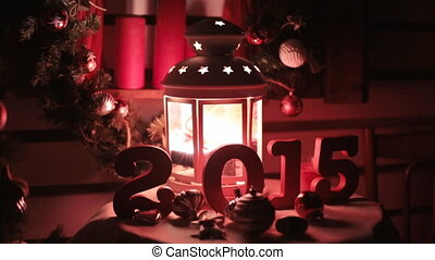 Beautiful Christmas and New Year decorations in red tones,...