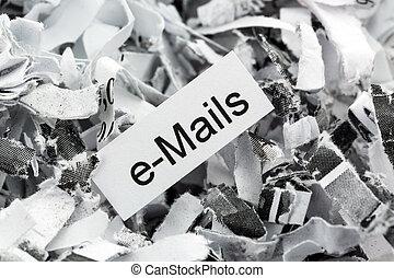 destrozado, papel, palabra clave, correos...