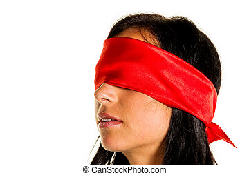 woman with blindfold - a young woman with fastened eyes