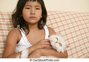 Asian girl with persian white cat on her arms - Asian girl...