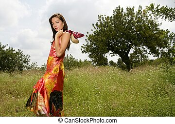 woman haute couture on the forest outdoors - woman elegant,...