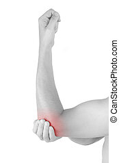 Elbow pain - Close up on highlighted pain area, elbow pain...