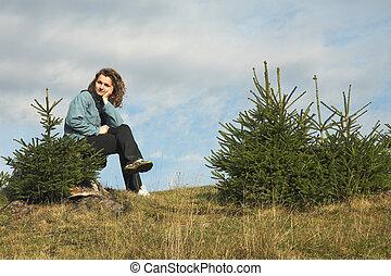 ragazza, in, abete, albero,
