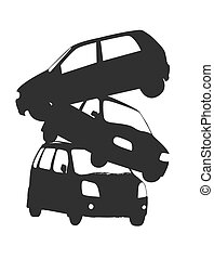Accidental Cars Shapes - Accidental Cars Vector Silhouette...