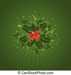 Christmas Holly On Green