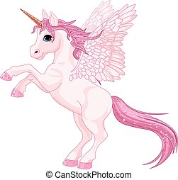 Unicorn Pegasus - Illustration of beautiful pink Unicorn...