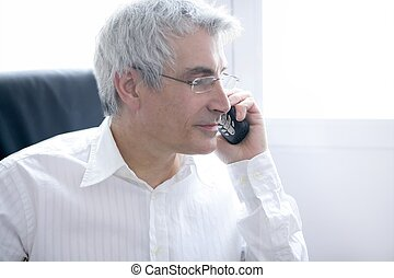 businessman calling phone, senior gray hair - businessman...