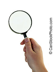 hand with a magnifying glass - a hand holding a magnifying...