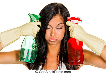 clean housewife with stress during - a young woman is...
