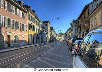 Street in old Carouge city, Geneva, Switzerland