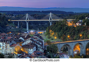View of Poya and Zaehringen bridge, Fribourg, Switzerland,...