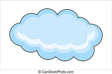 Vector Cloud - Abstract Vintage Blue Fluffy Cloud Vector...
