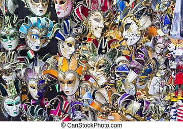 Venetian masks - Showcase with colorful souvenir masks in...