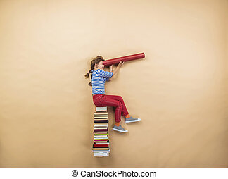 Girl with books - Happy girl is playing with group of books...