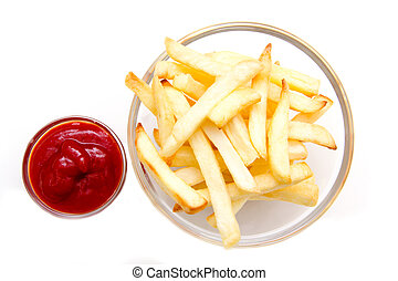 Bowl of chips and ketchup on a white background seen from above