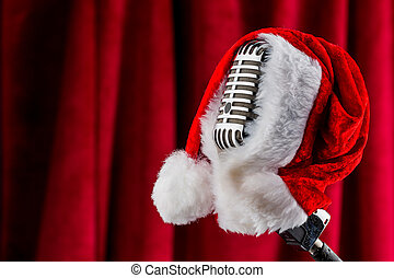 retro microphone with santa hat - an old retro microphone...