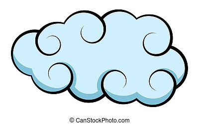 Fluffy Cloud - Abstract Retro Stormy Cloud Vector Shape...