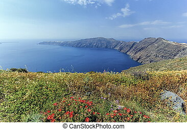 Santorini island, north, Greece - View on the north of...