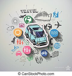 Travel collage with icons background