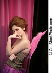 Beautiful redhead woman with pink wings - Beautiful redhead...