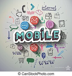 Mobile Internet collage with icons background. Vector...
