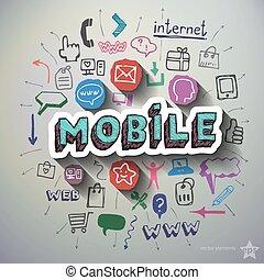 mobil, Internet, collage, med, ikonen, bakgrund,