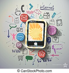 Mobile Internet collage with icons background Vector...