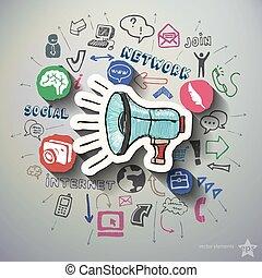 social, Nätverksarbetande, collage, med, ikonen,...